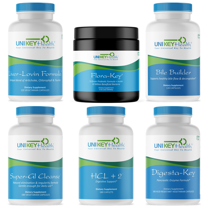 Digesta-Key, HCL+2, Super-GI Cleanse, Liver-Lovin Formula, Flora-Key and Bile Builder in an expanded Daily Digestion Bundle