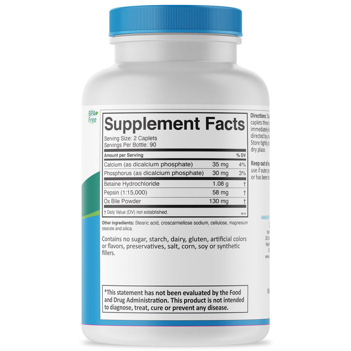 HCL +2 Supplement Facts