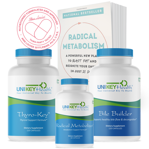 Radical metabolism book in paperback, bile builder, radical metabolizer and thyro-key products
