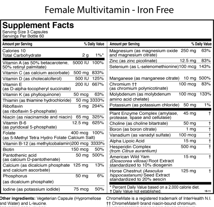 Female Multiple Iron Free Supplement Facts