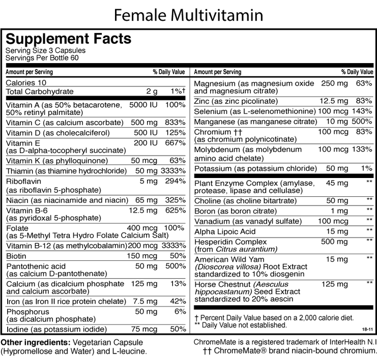 Female Multiple With Iron Supplement Facts
