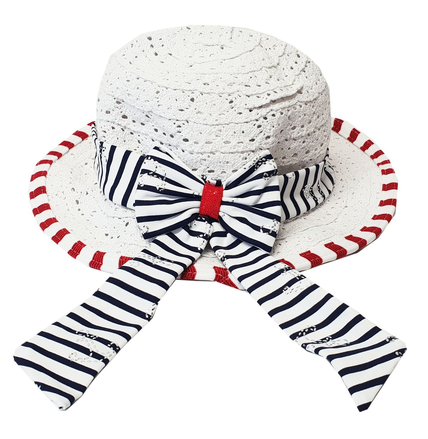 Crochet Navy Stripe Sun Hat