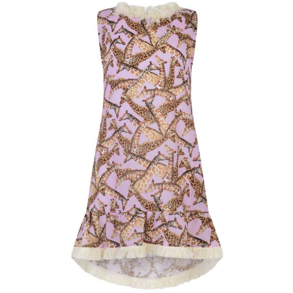 African Giraffe Pink Beach Dress