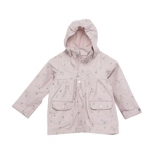 Charlene Print Raincoat- Violet Ice Hummingbird