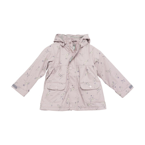 Charlene Print Lined Raincoat- Violet Ice Hummingbird