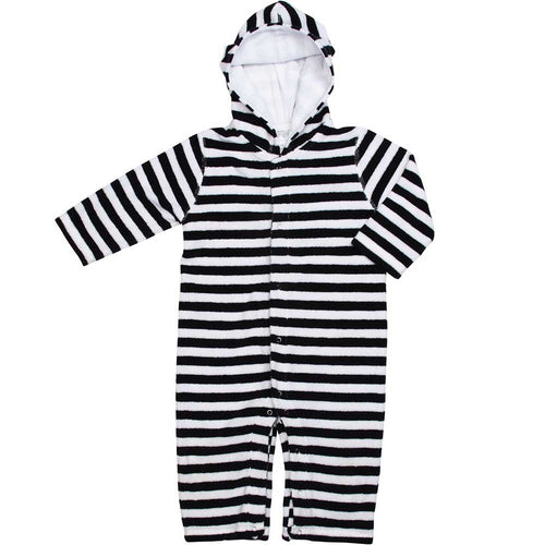 Infant Terrycloth Onesie- Navy/White Stripe
