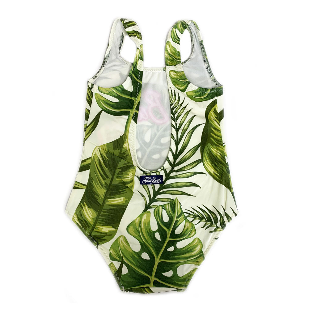 Girls Tropical Leaf Print Swimsuit