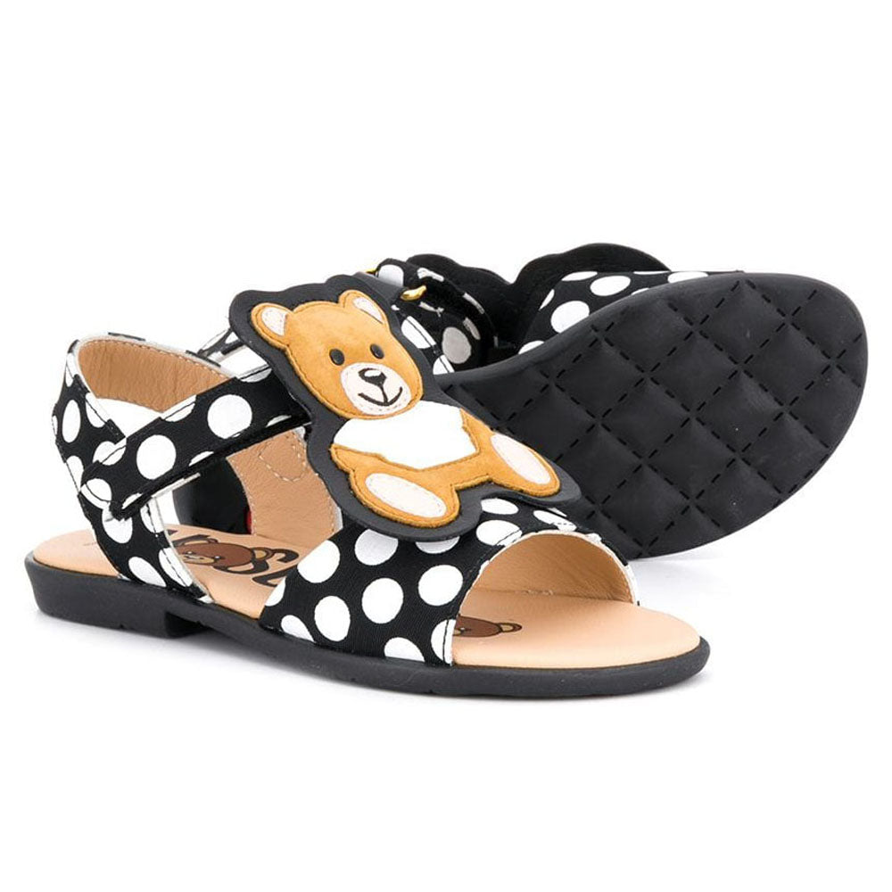 Leather Polka Dot Teddy Sandals