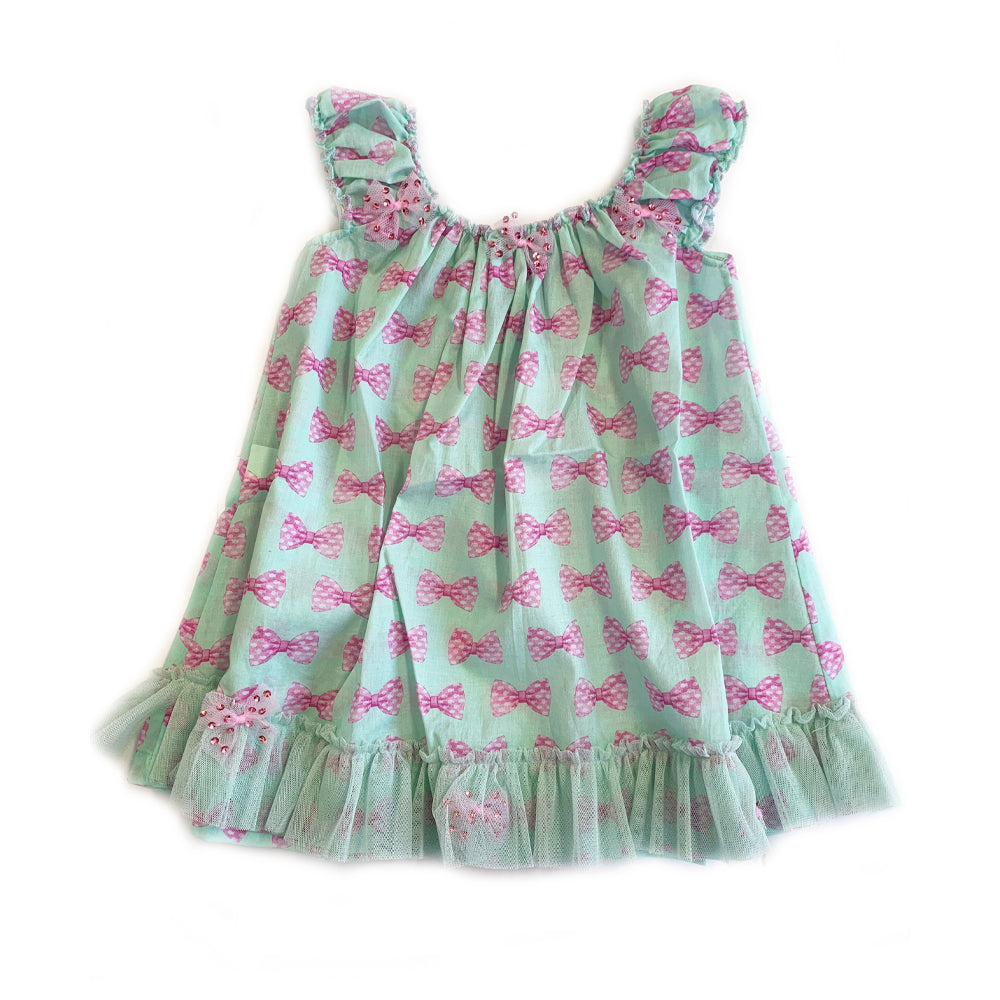 Sweet Bow Print Beach Dress