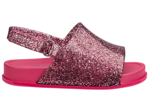 Mini Pink Glitter Beach Slide Sandal