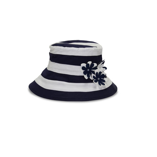 Navy Stripe Sun Hat