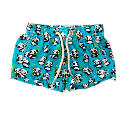Boys Blue Panda Print Foldaway Swim Shorts