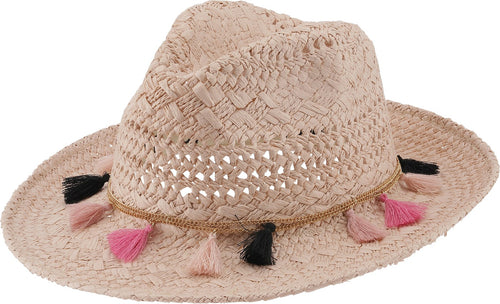 Rose Sand Straw Tassel Hat