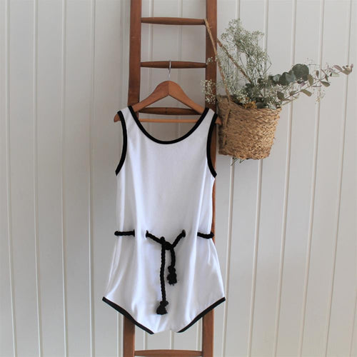 White Towelling Playsuit