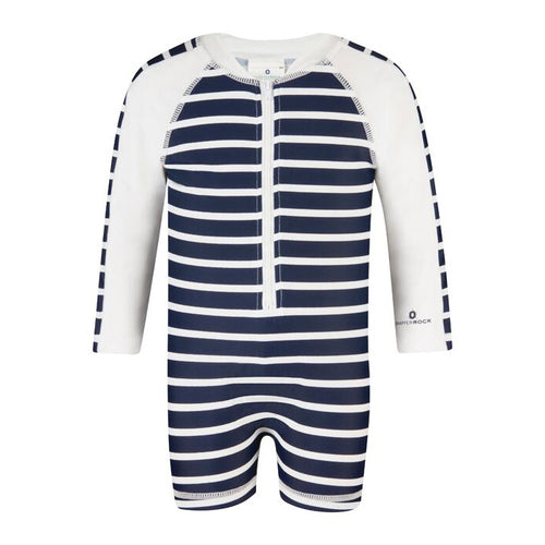 UV50+ Navy & White French Stripe Long Sleeve Sunsuit