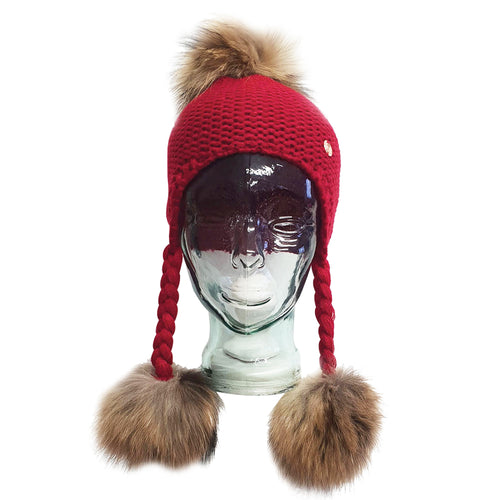 Triple PomPom Hat with Tassels- Red