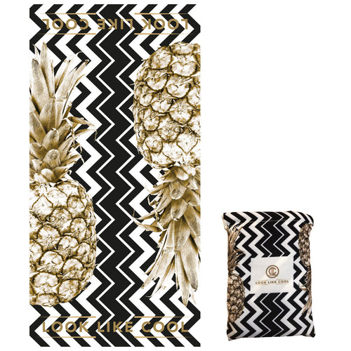 GRS Recycled Plastic Gold Pineapple Compact, Sand Free, XL Fast Drying Beach/Travel Towel- 'Coco Black Chevron'
