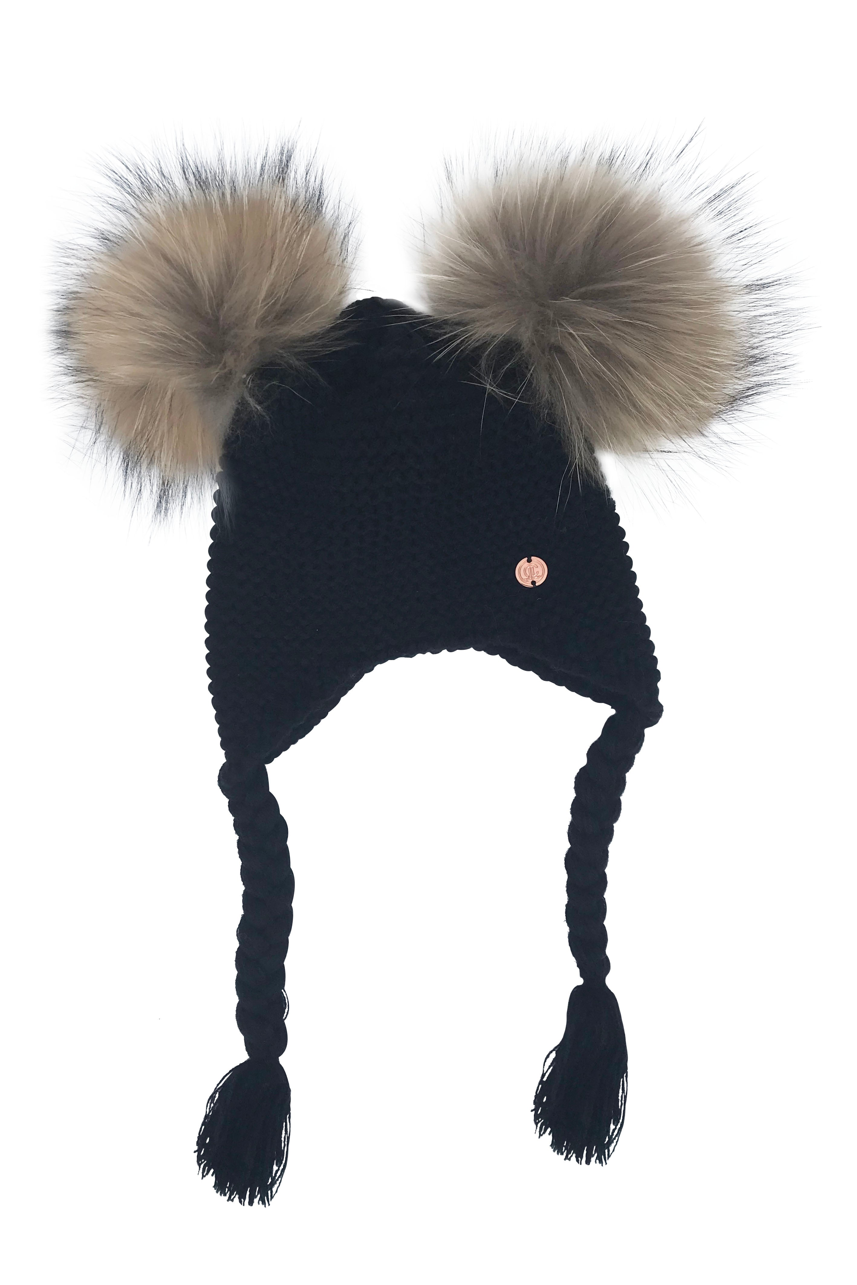 Double PomPom Hat with Tassels- Black