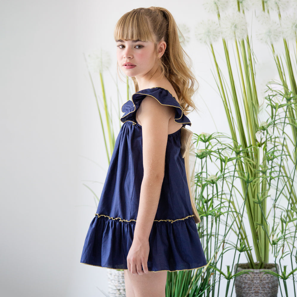 Grecia Navy & Gold Bow Dress
