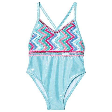 Metallic Zig Zag Crochet Swimsuit