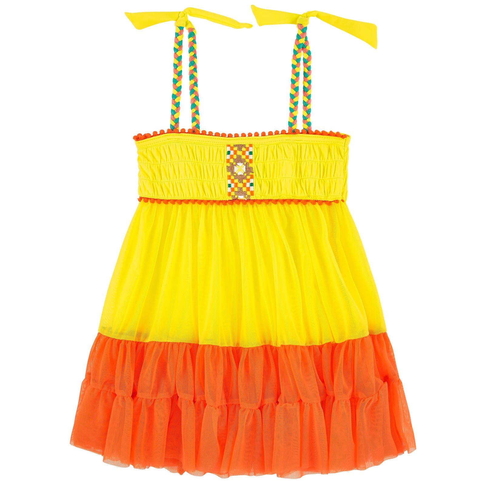 Yellow Embroidered Beach Dress