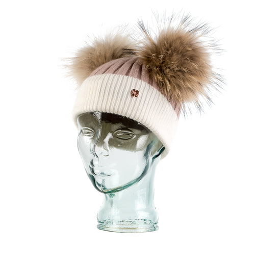 Cashmere Blend Double PomPom Bobble Hat- Salmon Pink & White