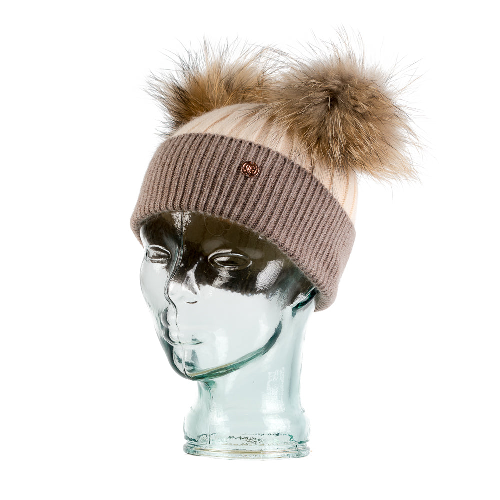 Cashmere Blend Double PomPom Bobble Hat- Beige & Biscuit
