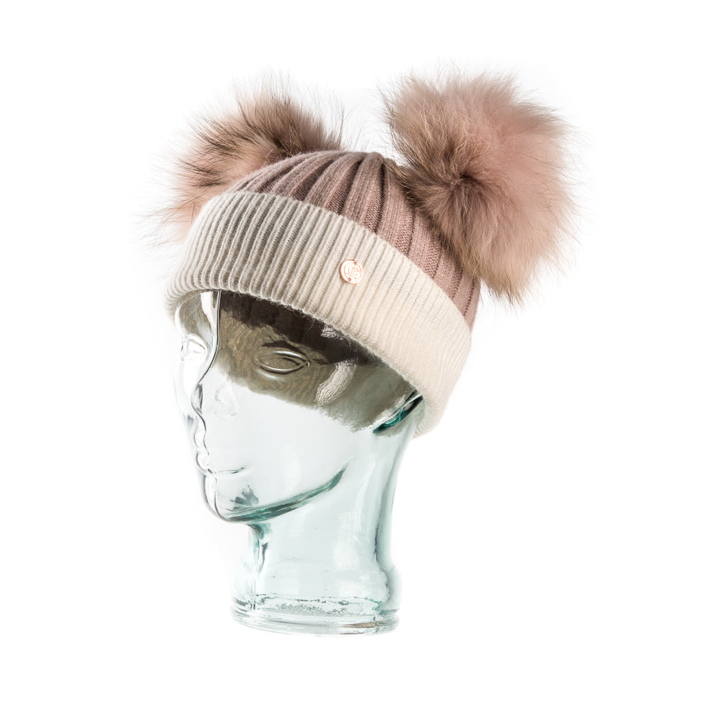 **LIMITED EDITION** Cashmere Blend Double PomPom Bobble Hat- Salmon Pink & White with Edition PomPoms