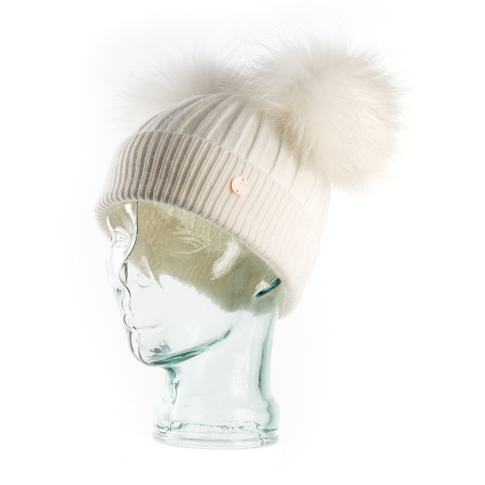 Cashmere Blend Double PomPom Bobble Hat- White with White Poms