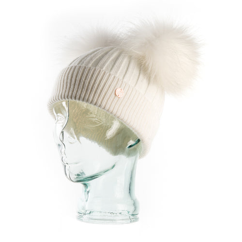 Cashmere Blend Double Pom Pom Bobble Hat- White with White Poms