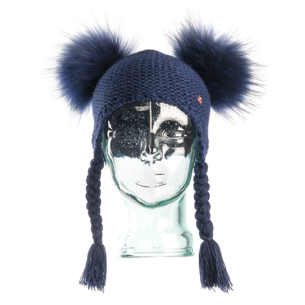 Double PomPom Hat with Tassels- Navy