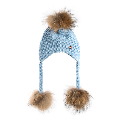 Triple PomPom Hat with Tassels- Baby Blue