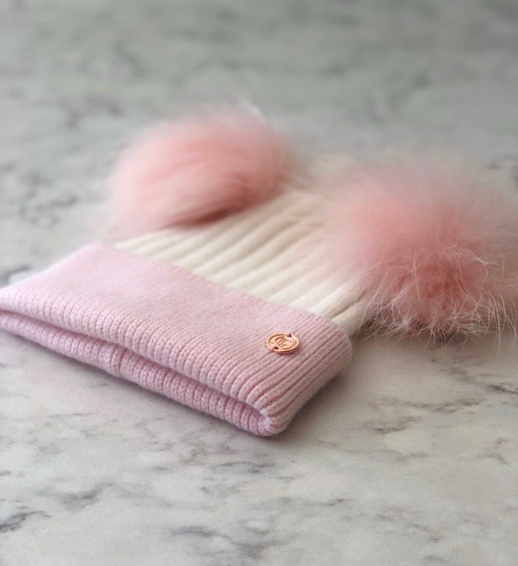 Cashmere Blend Double Pom Pom Bobble Hat- Baby Pink & White