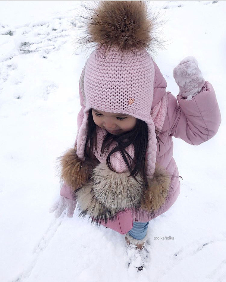 Triple PomPom Hat with Tassels- Baby Pink