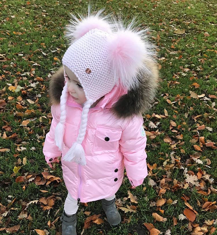 Double PomPom Hat with Tassels- Baby Pink