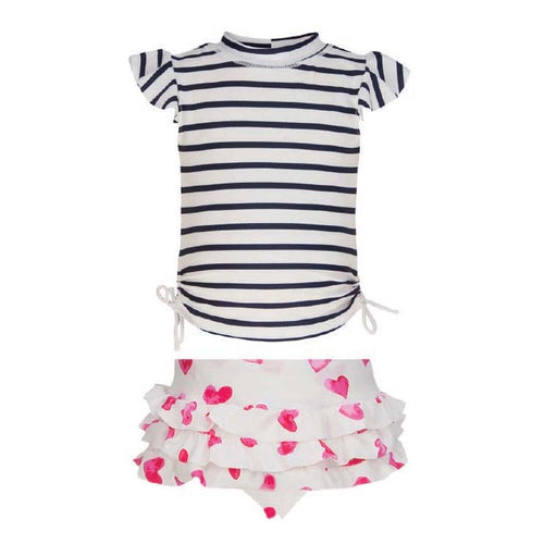 UV50+ Stripe/Heart Ruffle Set
