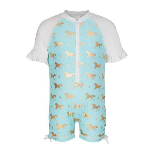 UV50+ Gold Horse Short Sleeve Sunsuit