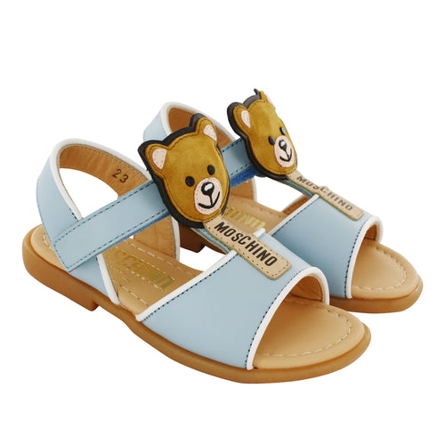 Leather Blue Teddy Sandals