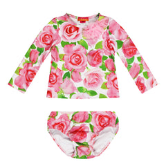 UV50+ Pink Rose Rash Vest Set