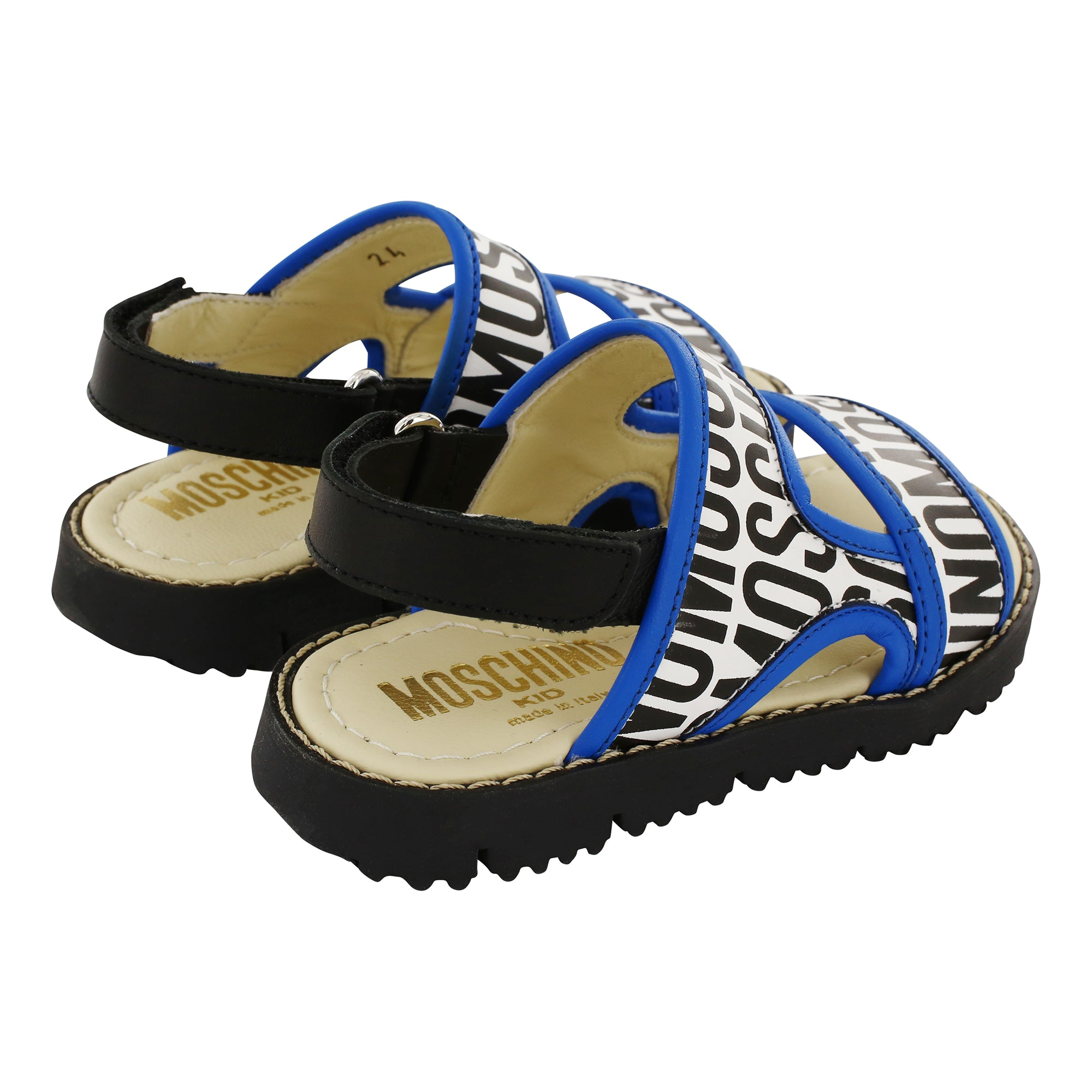 Moschino Leather Logo Print Boys Sandals