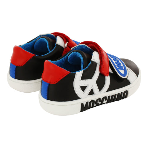 *Edition* Moschino Leather Peace Sign Trainers