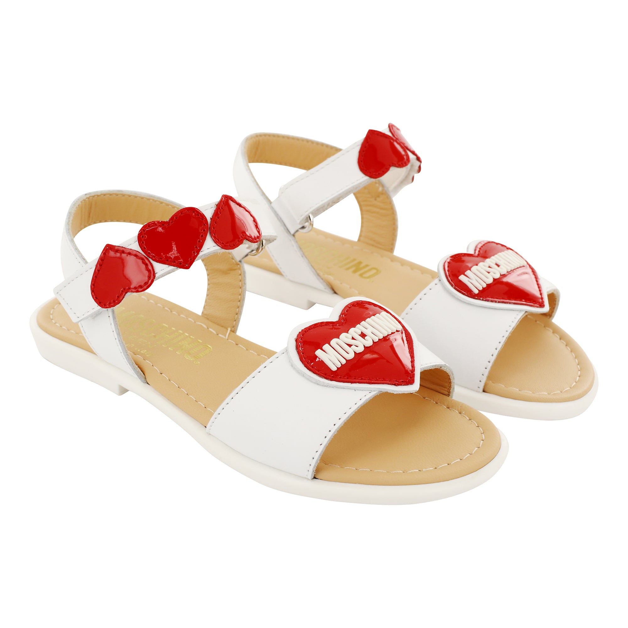 Moschino Girls Leather Patent Red Heart