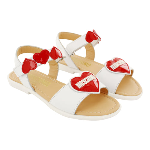 Moschino Leather Patent Red Heart Sandals