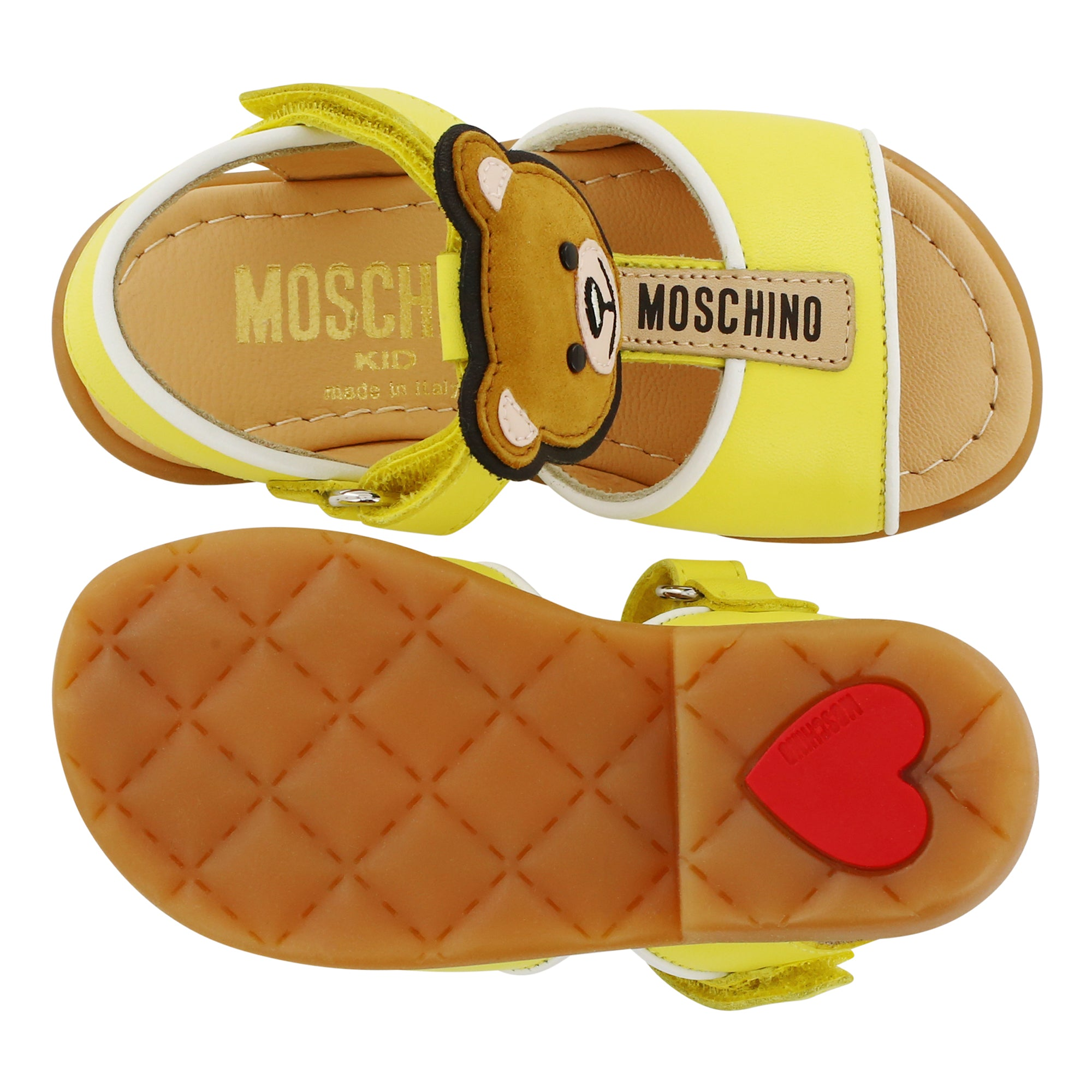 Leather Yellow Moschino Teddy Sandals