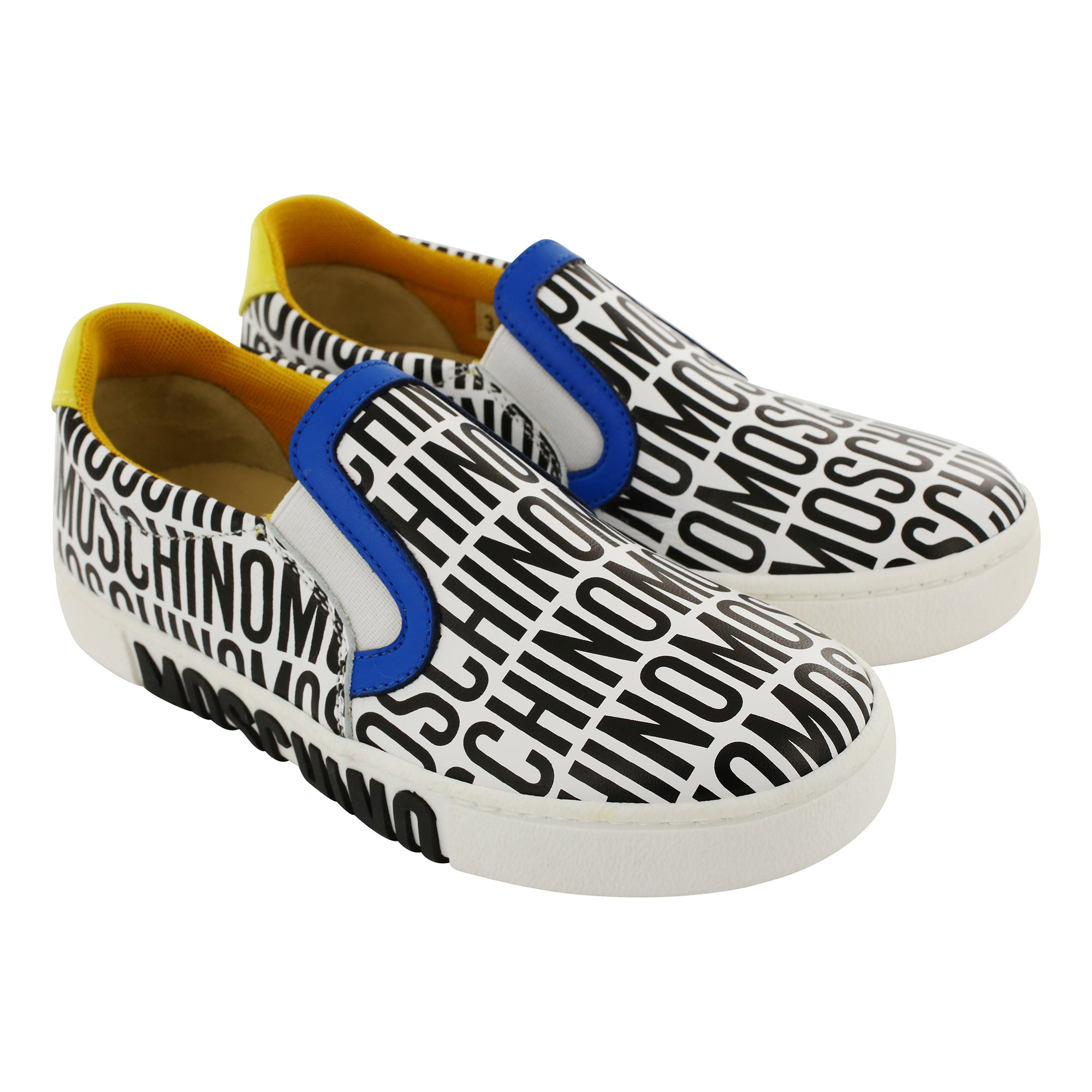 Leather Black & White Moschino Logo Slip On Trainers