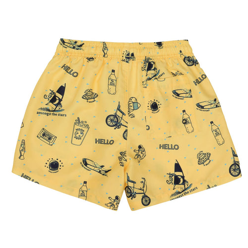 Yellow Space Print Swim Shorts