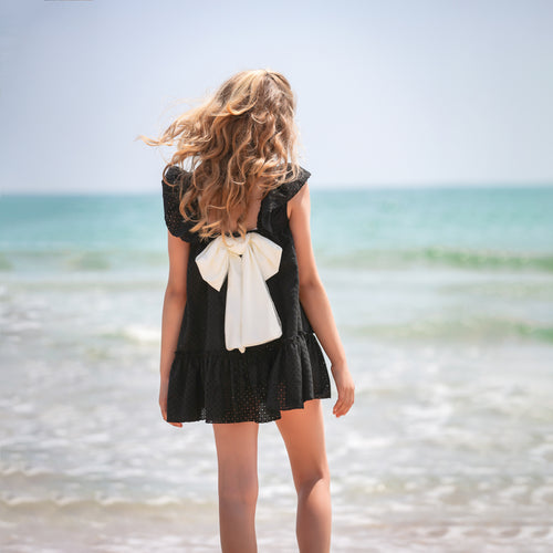 Francia Black & White Bow Dress