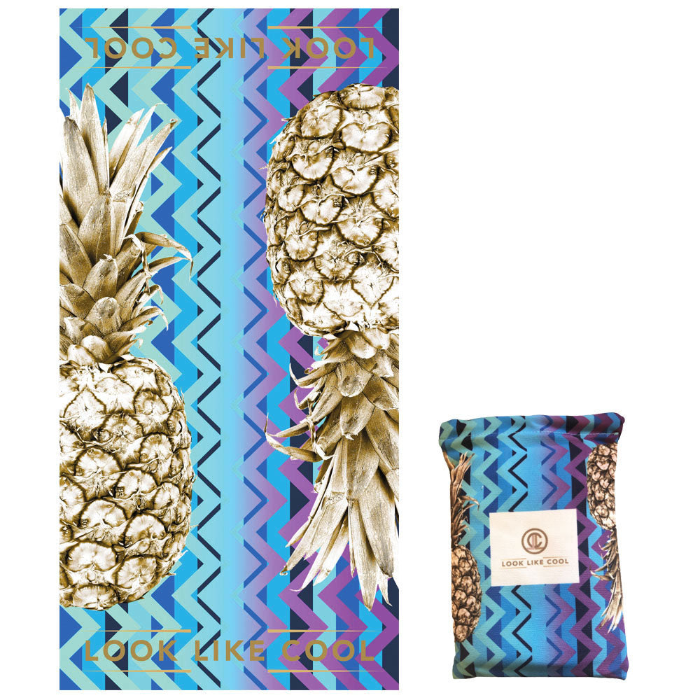 GRS Recycled Plastic Gold Pineapple Compact, Sand Free, XL Fast Drying Beach/Travel Towel- 'Ocean Chevron'