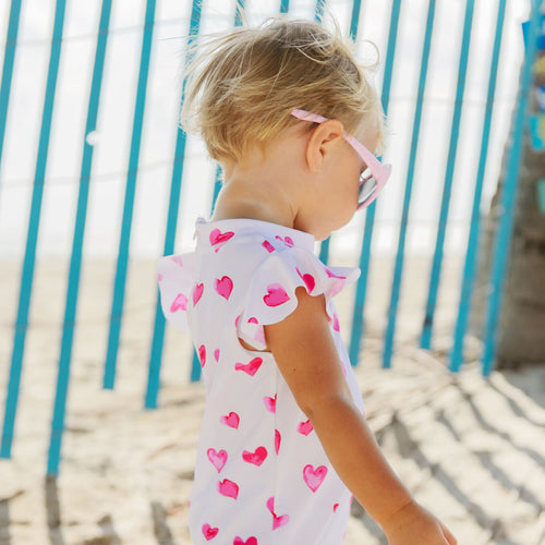 UV50+ Hearts Flutter Short Sleeve Sunsuit