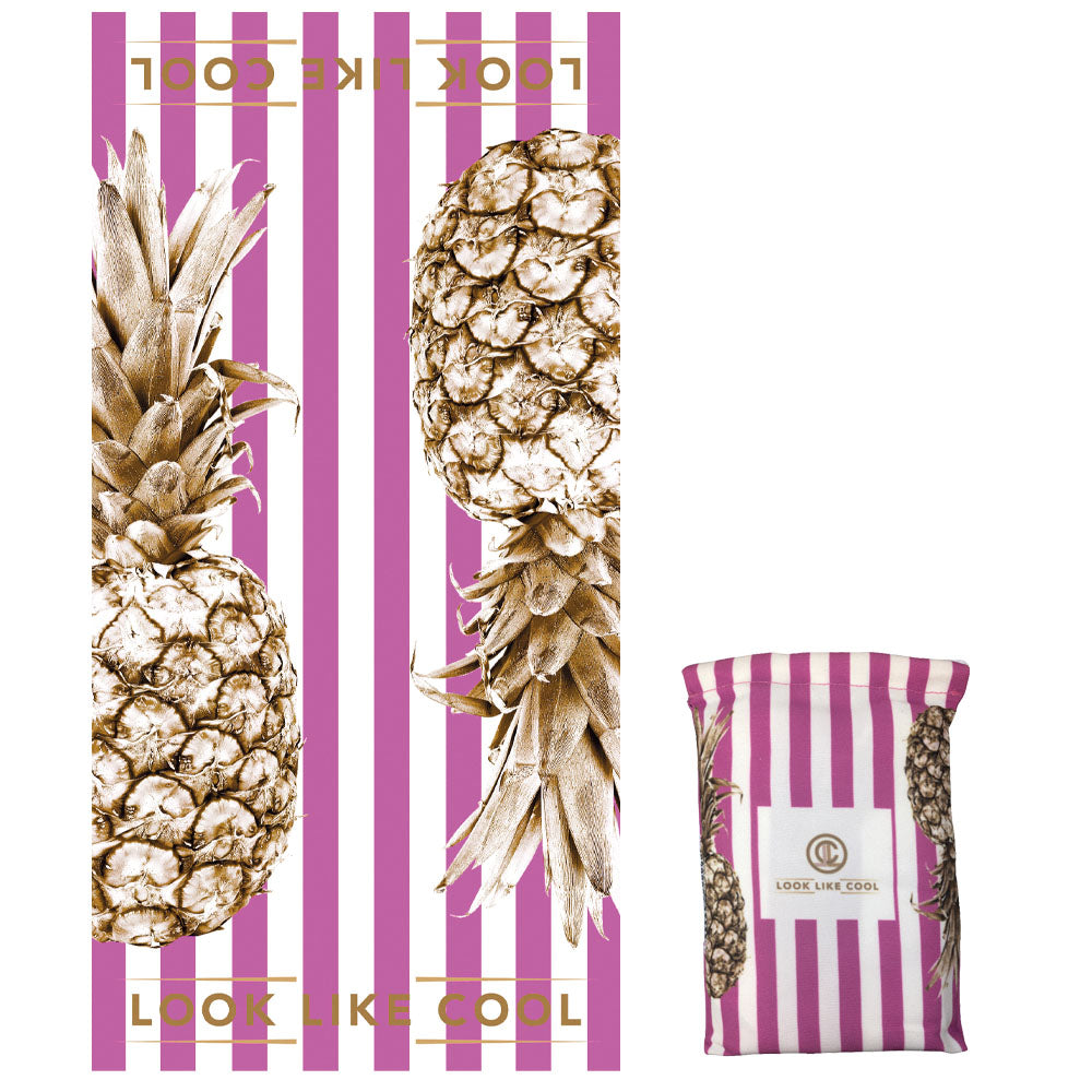 GRS Recycled Plastic Gold Pineapple Compact, Sand Free, XL Fast Drying Beach/Travel Towel- 'Sunset Pink'
